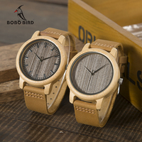 Bobobird A18 Womens Casual Antique Round Bamboo Wooden Watch For Men Leather Strap Lady Watches Top