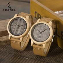 BOBO VOGEL WL10 Womens Casual Antike Runde Bambus Holz Uhr für Männer Lederband Dame Uhren Top Marke Luxus Handgelenk uhr