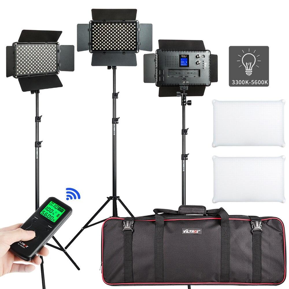 VILROX 2/3PCS VL-S192T LED Video Light Bi-color Dimmable Wireless remote Panel Lighting Kit + 75Light Stand for studio shooting