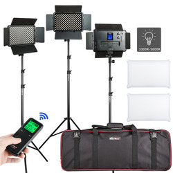 VILROX 2/3PCS VL-S192T LED Video Light Bi-color Dimmable Wireless remote Panel Lighting Kit + 75Light Stand for studio shooting