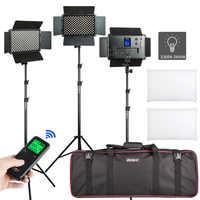 """Virox 2/3 Uds. VL-S192T luz led para vídeo bi-color atenuable Panel inalámbrico remoto Kit de iluminación + 75 """"Soporte de luz para estudio de fotografía"""