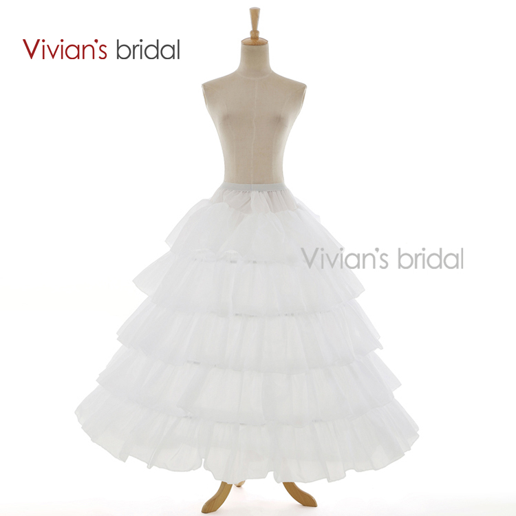 Vivians Bridal White 4 Hoop Ball Gown 5 Layers Petticoat For Wedding Dresses Underskirt Bridal Accessories Free Shipping 1050