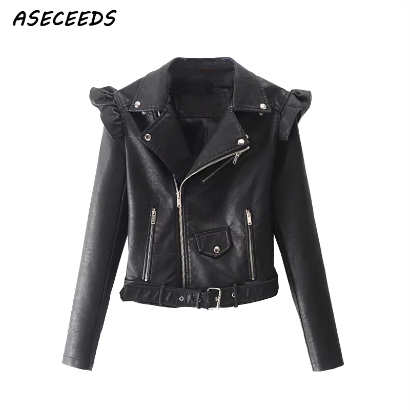Spring women ruffles faux   leather   pu jacket zipper Punk rock motorcyle coats 2018 logn sleeve biker   leather   jacket streetwear