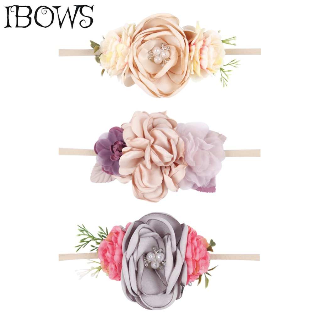 Boutique Artificial Flower Head Bands Beauty Pearl Floral Nylon Hairband For Newborn Kids Safe Headwear Gift Hair Accessories