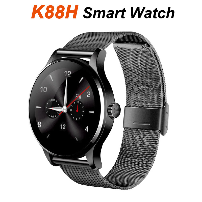 K88H Smartwatch Bluetooth Stainless Steel 3D Surface IPS View Heart rate monitor Mobile phone Call Smart watch SMS Email PK KW18