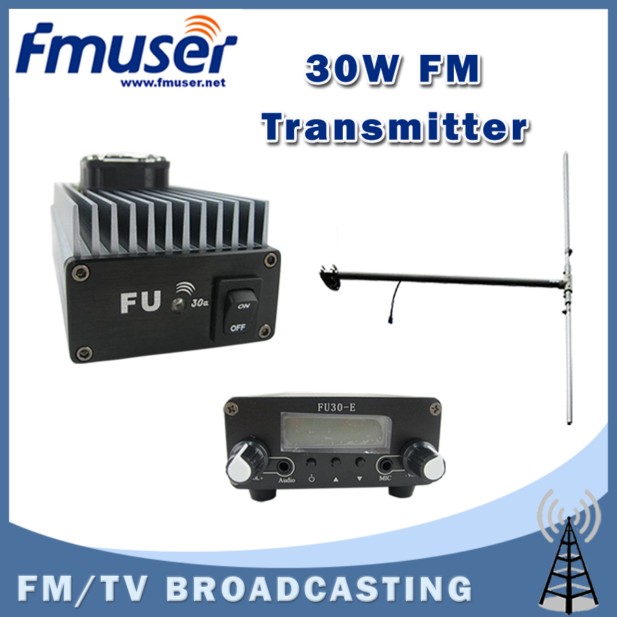 Free shipping FU-30A 30W FM transmitter amplifier+0.2w FM exciter+1/2 wave DIPOLE antenna KIT free shipping fmuser fu 30c new 30w fm transmitter 0 30w adjustable for fm radio station 1 2 wave dipole antenna kit