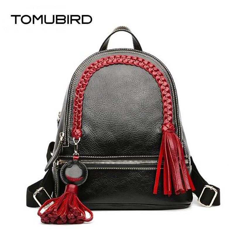 TOMUBIRD 2019 New Supérieure peau de vache célèbre marque sac pour femme Tressé glands de mode cuir véritable de luxe sac à dos sac pour femme fourre-tout