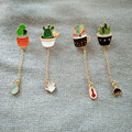 Fashion Accessories Girl   Cute Succulent Potted Aloe Vera Metal Oil Drop Brooch