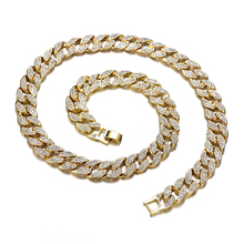 Miami Curb Cuban Chain Necklace For Men Gold Silver Hip Hop Iced Out Paved Rhinestones CZ Rapper Necklace Jewelry цена