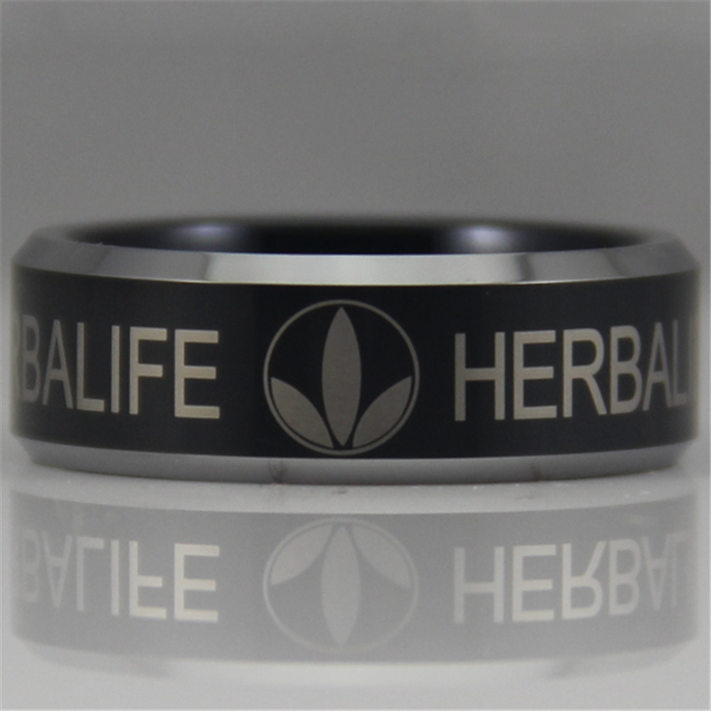 Free Shipping YGK JEWELRY Hot Sales 8MM Black with Silver Bevel Herbalife Design Mens Tungsten Comfort Fit Ring