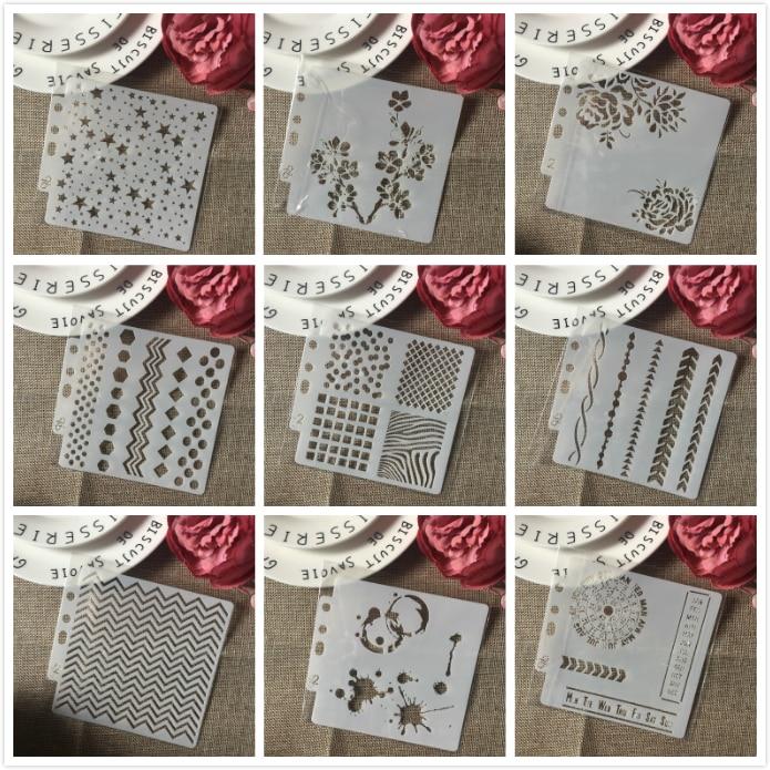 9Pcs/Set 14cm Star Flower Wavy Ink DIY Layering Stencils Painting Scrapbook Coloring Embossing Album Decorative Card Template