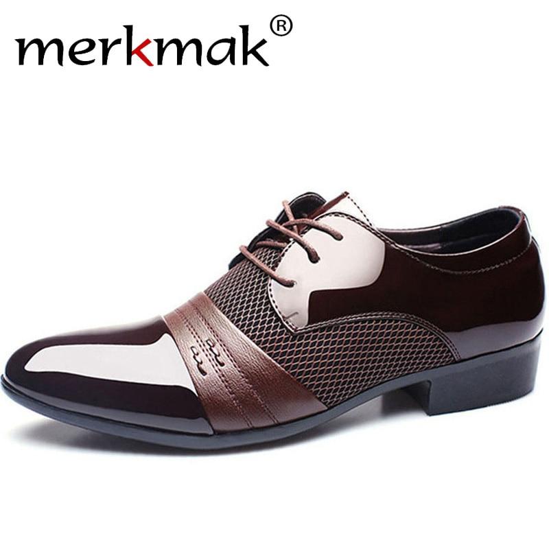 Merkmak Men Leather Shoes Oxford PU Leather Men's Dress Shoes Business Flat Shoes Breathable Men's Banquet Wedding Shoes 48