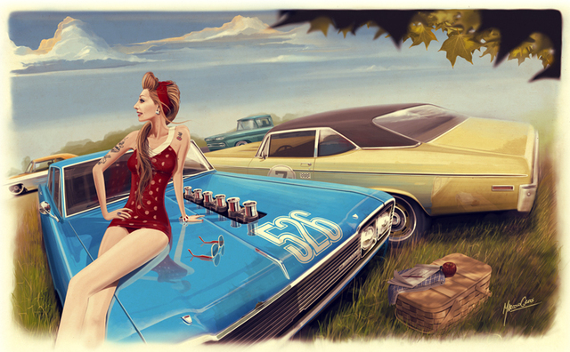 p0504 illustration pinup muscle cars girl woman cars wallpaper