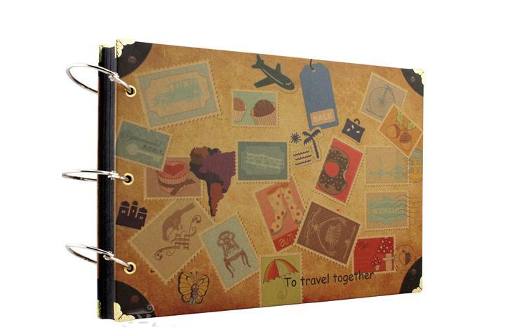 Gratis frakt 10 '' DIY Photo Album Cowhide Paper Handmade Travel Theme Photo Albums
