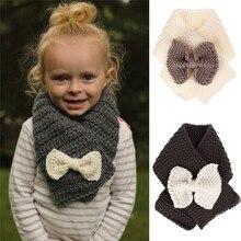 Новое поступление, милый шерстяной зимний шарф для малышей, детский однотонный теплый шарф с бантом, вязаный шерстяной шарф для девочек
