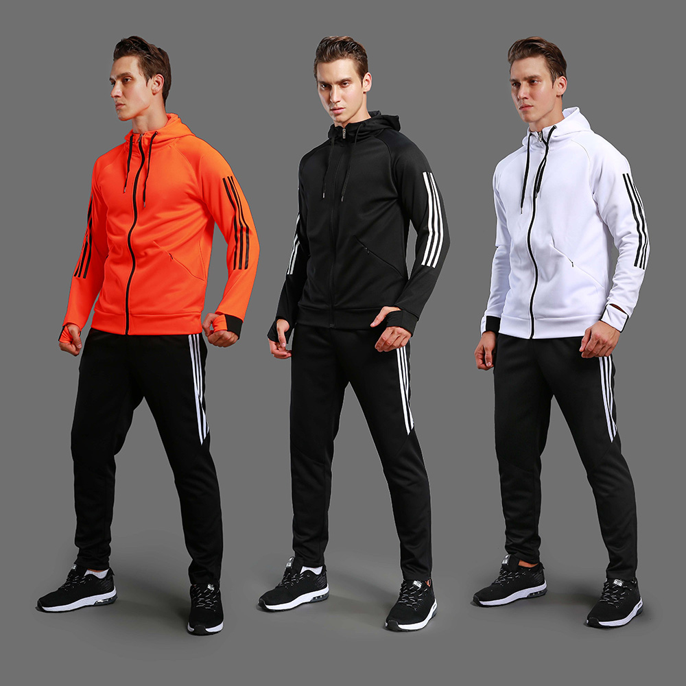 цена на New soccer Jacket pants Fitness men , running jacket ,Soccer Training Tracksuit Hooded Running Sets sports jacket soccer jersey