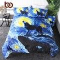 Постельные принадлежности  Комплект постельного белья с изображением Галактики  животные  акварель  искусство  одеяло  покрывало  луна  зве...