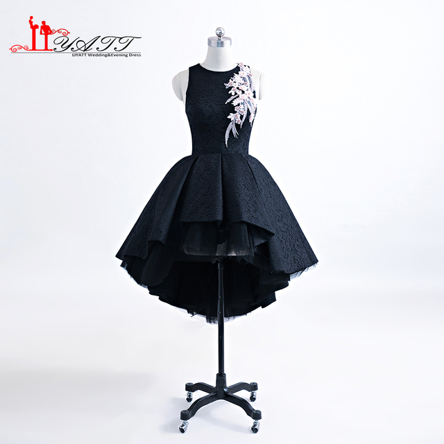 790b5997d88 Top Sell New Collection 3D Pink Flower Evening Dress Extra Puffy Hi-Low  Black Lace Puffy Ball Gown Black Lace Prom Gown LIYATT