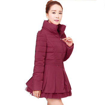 Ukraine Plus size 2017 New Winter Skirt Type Women Cotton Coat Parka Thick Female Lace Jacket High  quality Femme Outerwear W08