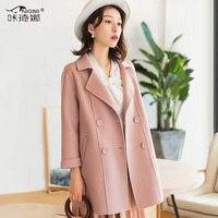 Двустороннее шерстяное пальто Женская куртка 2019 осенне зимняя куртка женские шерстяные пальто корейский розовый китайский, из натуральног