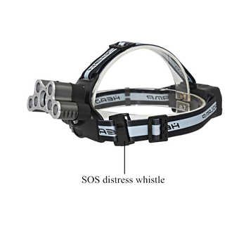 7 LED Powerful 5x T6 + 2x Q5 LED Headlamp Tactical Headlight Rechargeable Head Lamp Fishing Light + 2x 18650 Battery + Charger