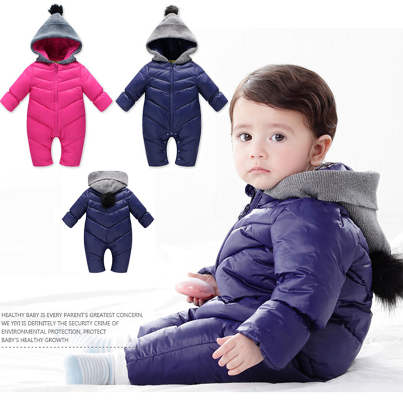 Snowsuit Baby Rompers Winter Boys Overalls Children's Winter Girls Baby Down Coat Jacket Infant Clothing Jumpsuits 0-18Months cotton baby rompers set newborn clothes baby clothing boys girls cartoon jumpsuits long sleeve overalls coveralls autumn winter