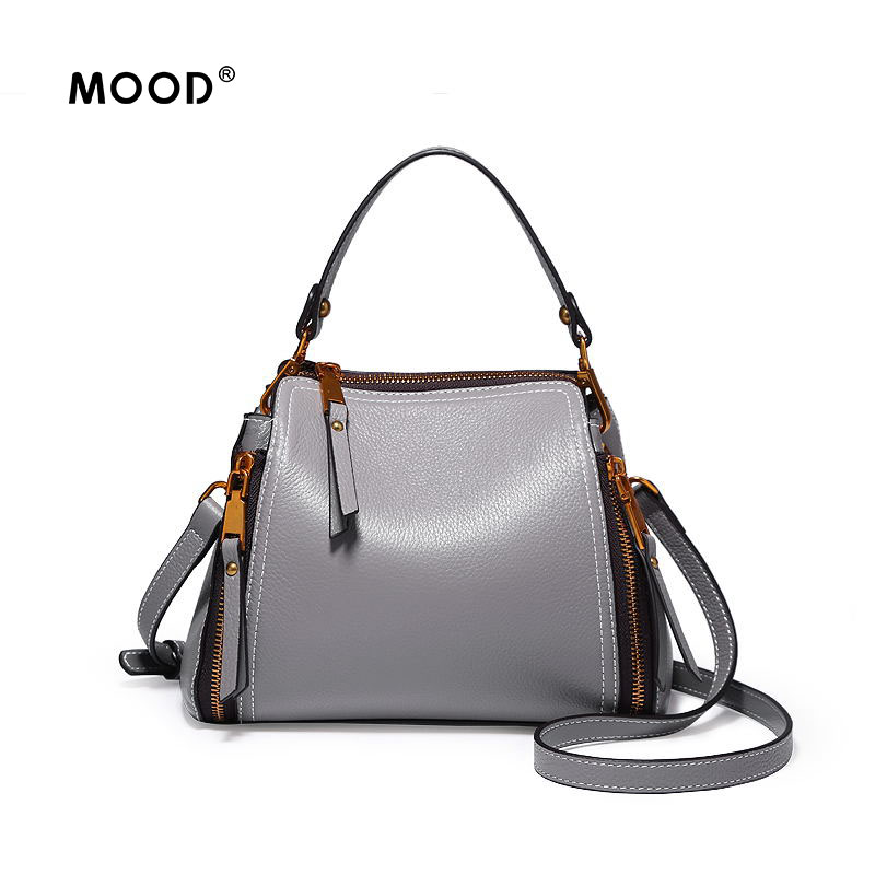 MOOD bags for women 2018 Genuine leather bucket bag of leather handbag bill of lading shoulder bag zipper bag Free shipping best quality 2018 new gate shoulder bag women saddle bag genuine leather bags for women free shipping dhl