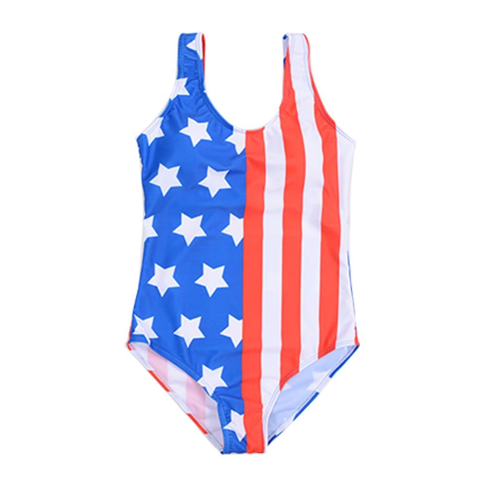 Swimwear Women 2018 Girl Flag One Piece Swimsuit Stars
