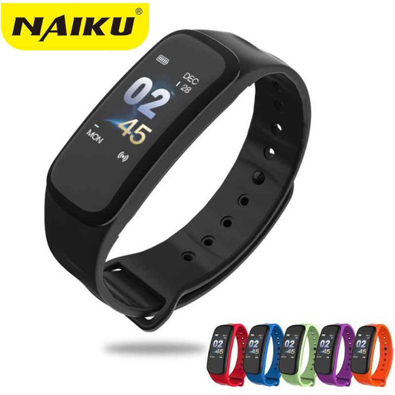 NAIKU C1Plus Smart Armband Farbe Bildschirm Blutdruck Fitness Tracker Heart Rate Monitor Smart Band Sport für Android IOS