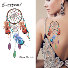 1 Sheet Dreamcatcher Tattoo Peacock Feather Temporary Sticker HB633 Dream Catcher Women Sleeve Body Art Waterproof Tattoo Design
