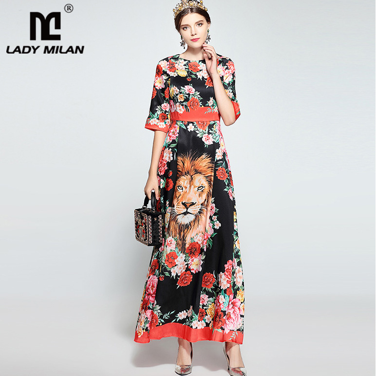 New Arrival 2018 Womens O Neck Half Sleeves Florals Tiger Printed Elegant A Line Long Ca ...