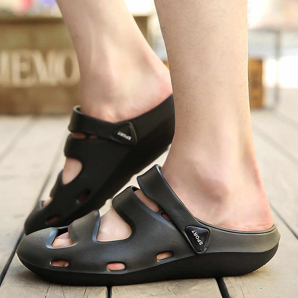 0a7855901 ... Unisex Breathable Casual Outdoor Beach Slippers Comfort Anti-Slip  Shower Sandals 2018 Mens Summer Beach