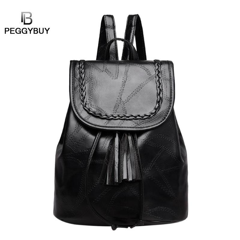 Casual Women Tassels Backpack Pu Leather Teenage Travel Shoulder Schoolbags