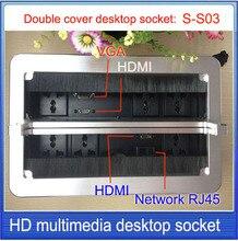 Dupla capa escova de desktop soquete/soquete De Alumínio/VGA, HDMI, rede, informações RJ45 caixa de Tomada/tomada de desktop escondido: S-S03