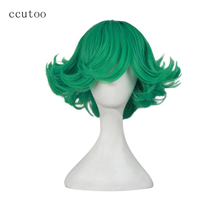 """ccutoo One Punch Man Senritsu no Tatsumaki 12"""" Green Curly Short Styled Synthetic Hair For Female's Party Cosplay Wigs"""