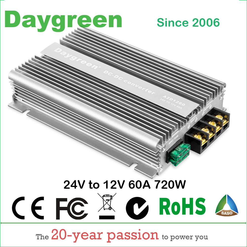 24V TO 12V 60A 720W Newest Technology DC DC Step Down Converter Reducer For Automotive Machine Daygreen CE 15 years lifetime