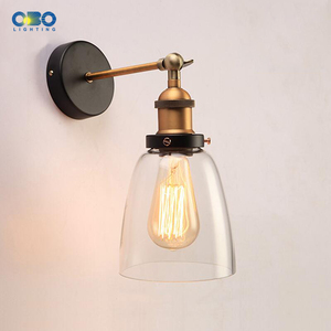 Image 3 - Retro Glass Wall Lamp  Loft Vintage Metal Triangle Oval Clear Wall Light Edison  40W  Industrial Wall Sconce
