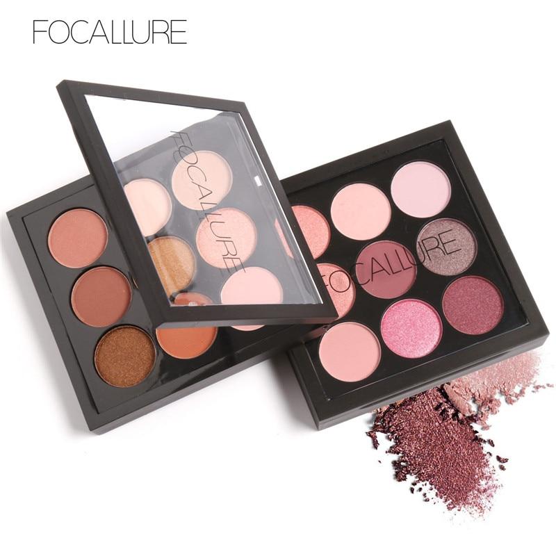 FOCALLURE 9 colores en tonos tierra brillo mate pigmento brillo paleta de sombra de ojos artista paleta de sombra de maquillaje metálico sombra de ojos