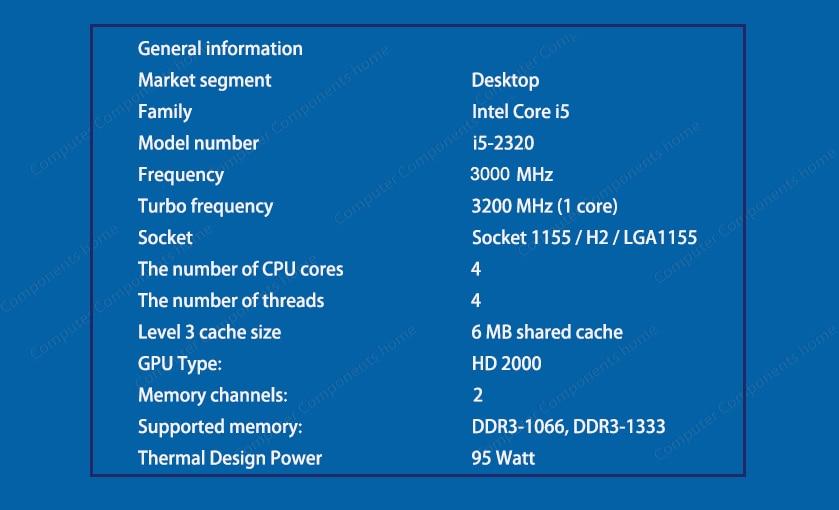 Intel Core i5-2320 I5 2320 CPU Procesador de cuatro núcleos 3.0 GHz - Componentes informáticos - foto 3
