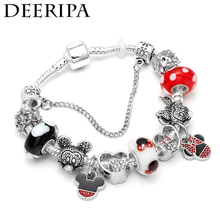 Cute Silver Mickey Donald Duck Charm Bracelet Fits Europe  For Women Kids Girl DIY Murano Gift Accessories