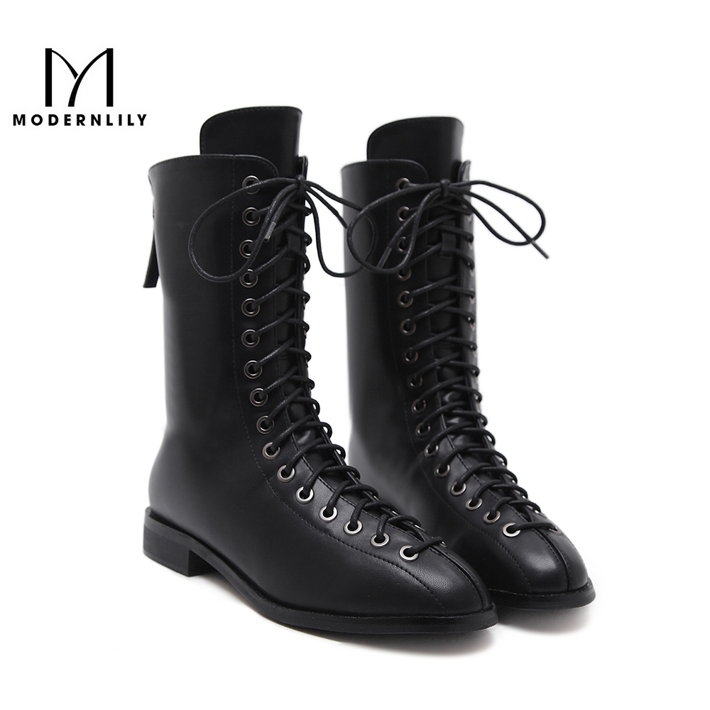 Mid Calf Riding Boots Women Black PU Fleeces Zipper Pointed Toe Winter Brand Platform Women 's Shoes Snow Boots Botas Mujer zippers double buckle platform mid calf boots