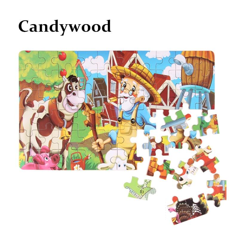 Candywood 60pcs Cizgi filmi Heyvan Puzzle Dəmir Qutusu Uşaqlar - Bulmacalar - Fotoqrafiya 3