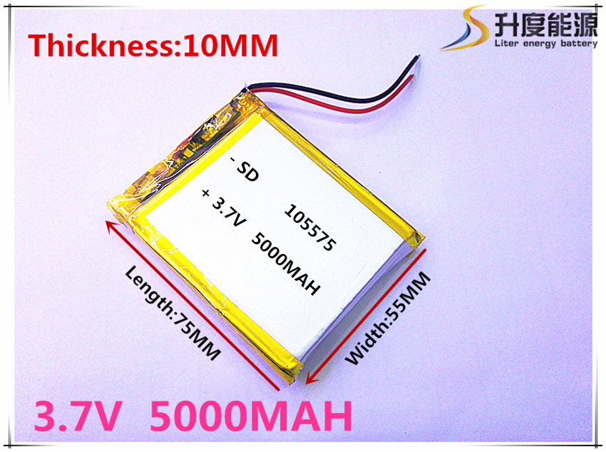 Free shipping 1pcs/lot 105575 3.7 V lithium polymer battery 5000 mah DIY mobile emergency power charging treasure battery free shipping 3 7 v 5000 mah tablet battery brand tablet gm lithium polymer battery 3088128