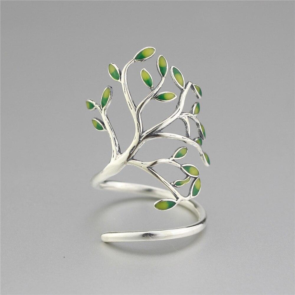 925 Sterling Silver Drop Glaze Leaves Open Rings For Women Original Handmade Lady Prevent Allergy Sterling-silver-jewelry mariposa en plata anillo
