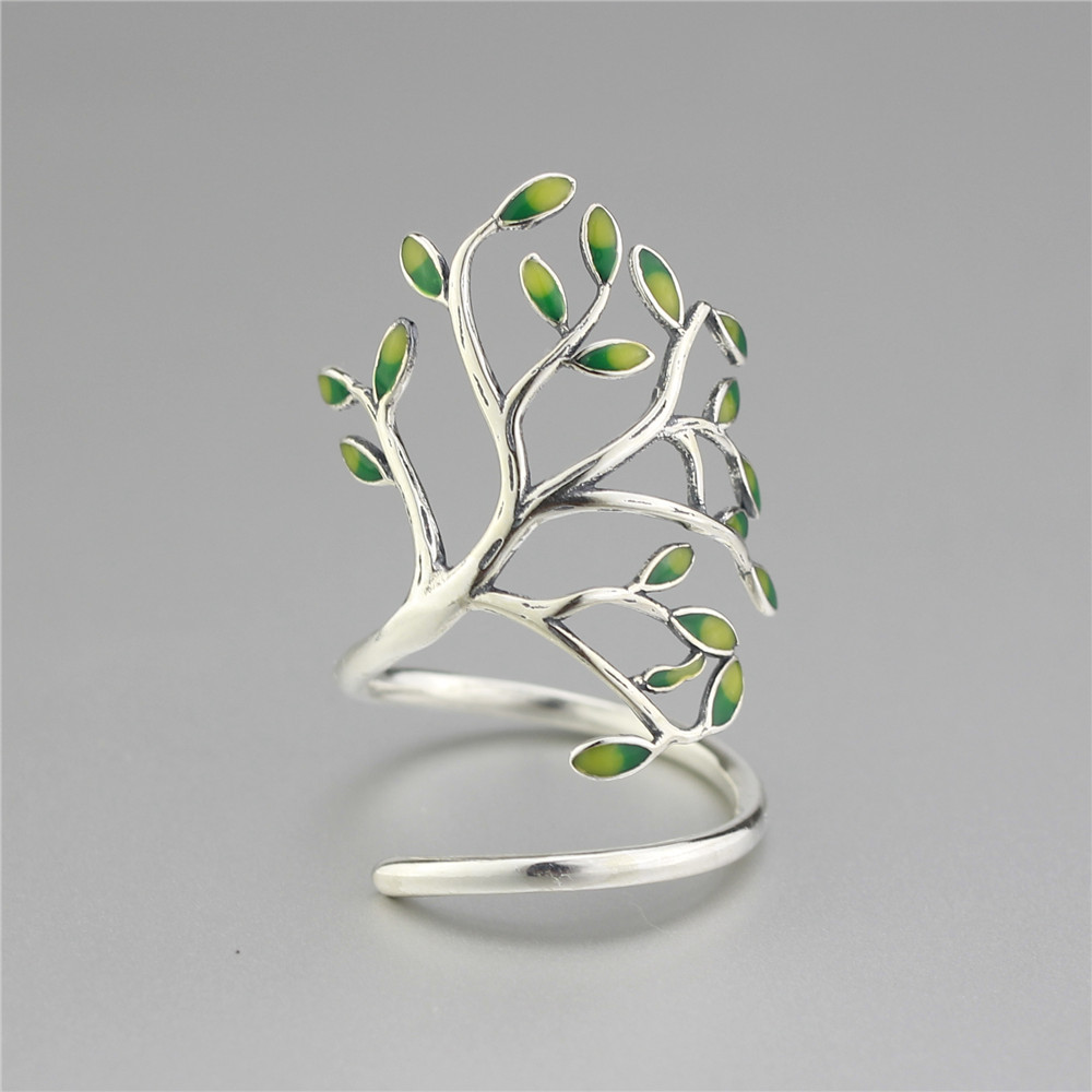 925 Sterling Silver Drop Glaze Leaves Open Rings For Women Original Handmade Lady Prevent Allergy Sterling-silver-jewelry