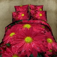 Red Daisy Floral Print 3d Bedding Set Queen Size,100 Percent Cotton Bed Sheet Pillowcase Comforter Cover Bed in a Bag 4pcs