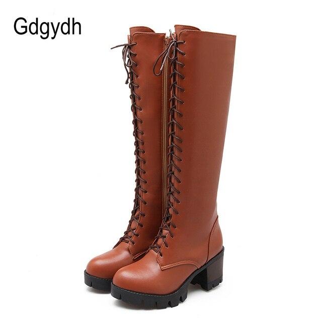 Gdgydh 2018 Bağlama Kış Diz Yüksek Çizmeler Kadın Yüksek Topuklu Fermuar Sonbahar Kauçuk Taban Kahverengi Topuk Uzun Çizmeler Ayakkabı Büyük boyutu 43
