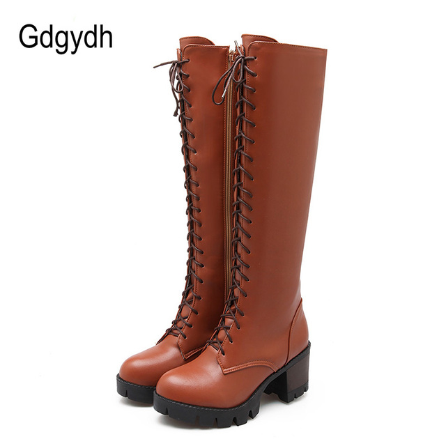 Gdgydh 2018 Lacing Winter Knee High Boots Women High Heels Zipper Autumn Rubber Sole Brown Heel Long Boots Shoes Big Size 43