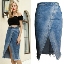 SexeMara Split Overlapping Irregular Tassel Denim Skirts Women Summer Europe America