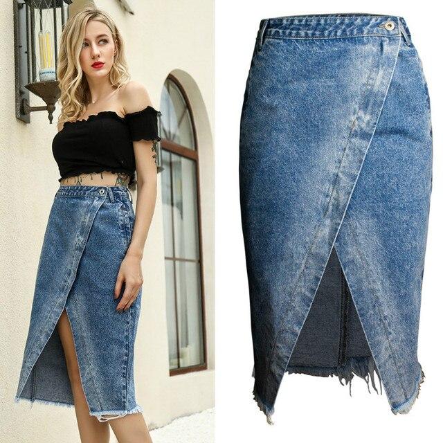 68730e47ca Split Overlapping Irregular Tassel Denim Skirts Women Summer Europe America  High Street Blue Saia Midi Mujer Jeans Jupe Femme